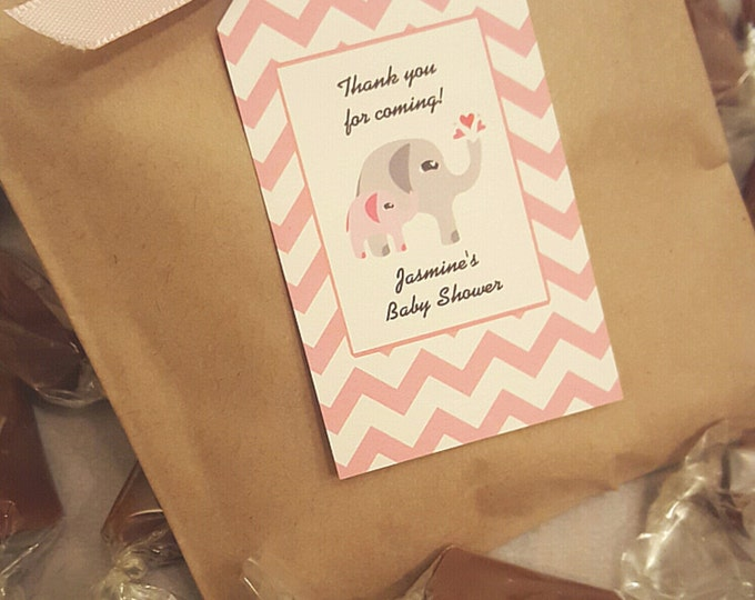 Pink & Grey Elephant EDIBLE BABY Shower FAVORS - 2 Caramels each - Personalized and Custom Made - Chevron print