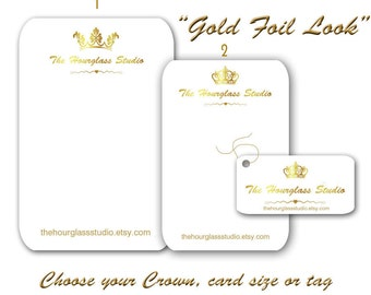 Jewelry Cards - Custom Earring Cards - Necklace Tags - Price Tags - Bracelet Tags - Gold Foil Look - Gold Crown