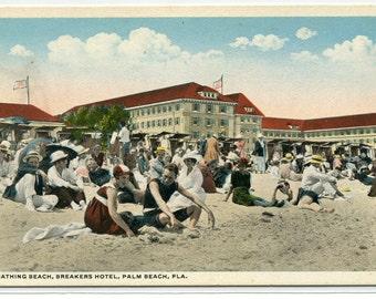 Beach Scene Bathing Breakers Hotel Palm Beach Florida 1920c postcard