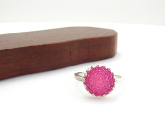 Sterling Silver Bright Pink Druzy Quartz Stone Ring Handmade Metal Work Jewelry Size 6 Pink Druzy Gemstone Princess Crown Ring Ready To Ship