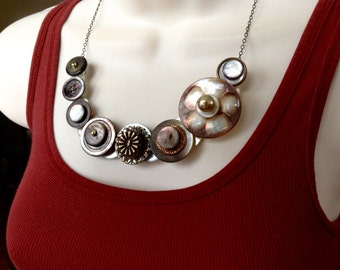 Asymmetrical Smokey MOP button necklace