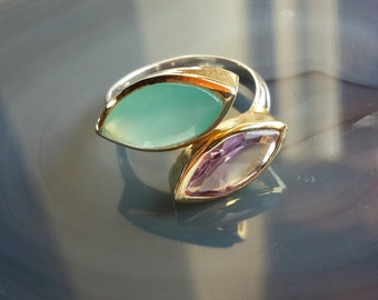 Sterling Silver Ring Amethyst and Calsedon Gemstone Ring
