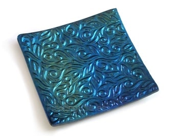Fused Glass Matte Black Iridescent Aurora Borealis Textured Glass Plate Handmade