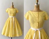 RESERVED LISTING -- 1950s Vintage Dress - 50s Lemon Yellow Gingham Cotton Sundress