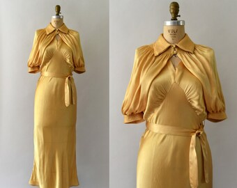 1930s Vintage Dress Set - 30s Gold Satin Gown and Bolero Set - Three Piece Set
