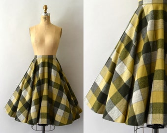 1960s Vintage Skirt - 60s Pendleton Wool Green Check Circle Skirt