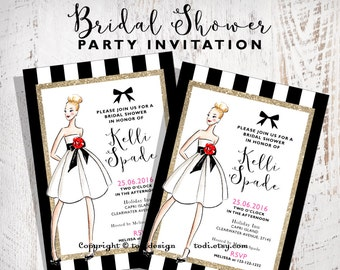 Bridal Shower Invitation Design Printable digital file- Fashion - Wedding Dress