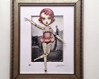 The Amazing Tattooed Girl - fully assembled articulated paper doll - Framed -  by Mab Graves