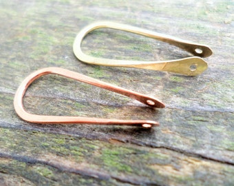 U with Holes 25mm Choose From Copper, Oxidized Copper, NuGold Brass or Sterling Silver 2pcs
