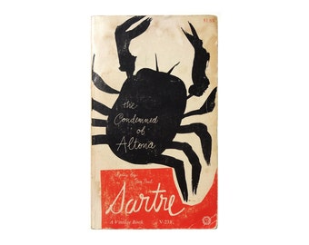 """Paul Rand paperback book cover design, 1963. """"The Condemned of Altona"""" by Jean Paul Sartre"""