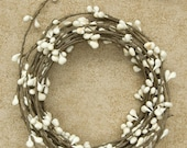 One 18' Pip Berry Rope Garland Ivory Rustic Primitive Crafts Folkart Doll Making Wreaths Swags
