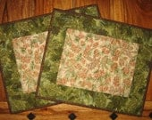 Reserved for Anne-Pinecone Quilted Placemats Brown Pinecones Green Pine Boughs Rustic Cabin Mountain Lodge Decor , Reversible Placemats