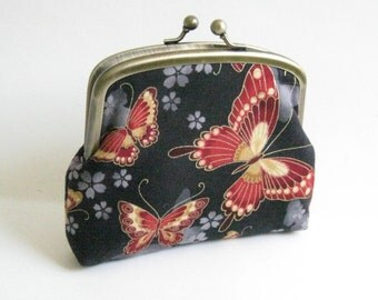 Double Frame Purse with Red and Gold Butterflies