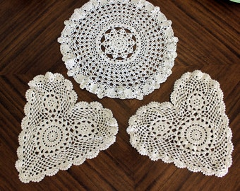 3 Assorted Crochet Doilies - Vintage Knit Doily, White Table Linens, Handmade Doilies 13687