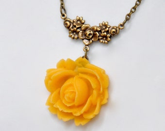 Yellow Rose Pendant Necklace, Yellow Flower Necklace, Antiqued Brass Flower Necklace, Floral Necklace, Honey Yellow Necklace Victorian Style