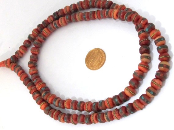 108 beads - 8 mm Tibetan bone beads with turquoise brass coral inlay dyed red bone beads mala making supplies - ML042A