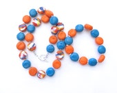 Ceramic Necklace and Bangle, Kazuri Bead Necklace, OrangeTurquoise and White Abstract Design Necklace and Bangle