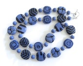 Kazuri Bead Necklace, Ceramic Necklace, Fair Trade Beads, French Blue and Navy Blue