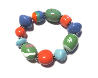 Beaded Bracelet, Kazuri Bangle, Fair Trade, Ceramic Jewellery, Colourful Bracelet