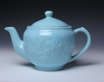 Shawnee Teapot Embossed Blue Flowers - Ceramic