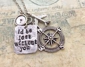 Compass Necklace, Airplane Necklace, Initial Necklace, Travel Necklace, Handstamped Necklace, Best friend Gift, Quote Necklace