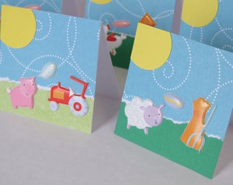 8 Farm Animal Mini Cards, Farm Animal Cards, Mini Cards, Farm Animals, Handmade Cards.