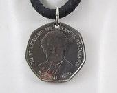 1999 Jamaica Coin Necklace, 1 Dollar, Coin Pendant, Mens Necklace, Womens Necklace, Leather Cord, 1999