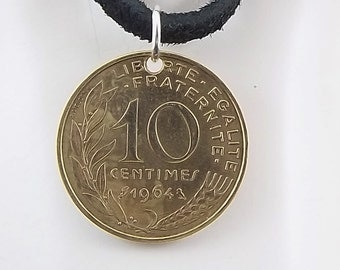 1964 French Coin Necklace, 10 Centimes, Coin Pendant, Leather Cord, Mens Necklace, Womens Necklace, Vintage