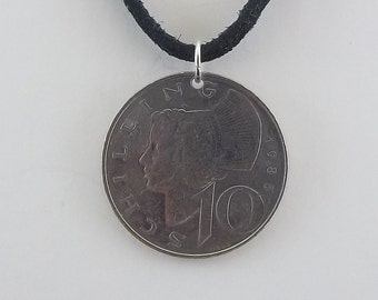 1985 Austrian Coin Necklace, 10 Schilling, Mens Necklace, Womens Necklace, Coin Pendant, Leather Cord, Birth Year, 1985
