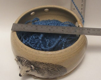 Hedgehog Stoneware Yarn Bowl, Hand Painted and Sculpted  Hedgehog Face