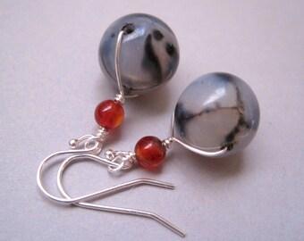 Spiderweb Agate Earrings, Stone Earrings, Sterling Silver, Carnelian Earrings, Modern Stone Jewelry, Wire Wrapped