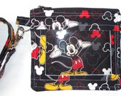 Disney Mickey Mouse,Souvenier Pin ID Holder with Lanyard,Disney World Pass Holder,DisneyLand Amusement Park,Quilted Coin Purse