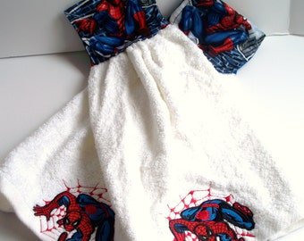 Spiderman Fabric Topped,Single T-Towel,Quality Kitchen Towel,Hand Towel Gift.Marvel Comics Spiderman Applique on White Towel
