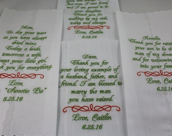 Set of 4 - Personalized - Embroidered Handkerchiefs - Parents of the Bride - Parents of the Groom - Simply Sweet Hankies