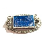 Vintage Carved Lapis Lazuli Jewelry piece for Repair Repurpose or Assemblage