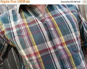 VALENTINES SALE Men's Handmade Cotton Long Sleeve Button Down Pocket Shirt - Traditional Plaid - Evergreen - Arturo H861