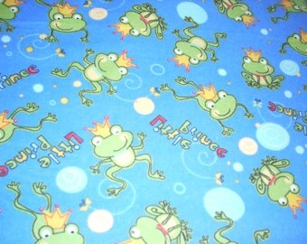"Frogs - Little Prince on blue -  Flannel Fabric  - By the Yard  43"" wide"