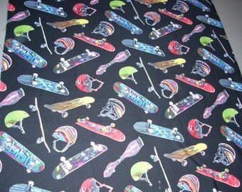 Skateboards on Black -  Cotton Fabric  - 15 inches wide and sold by the yard