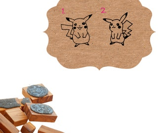 Pokemon Pickachu Character Olive Wood Stamp - Choice of 2 Designs
