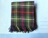 Vintage Green Tartan Plaid Wool TROY Leisure Blanket - Stadium Tailgate Party Man Cave Woolen Blanket - Preppy Fringed Couch Potato Cozy