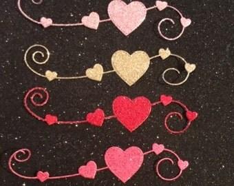 So Pretty!  Homespun Heart - Nice Glittered Doily Hearts -  Set of 6