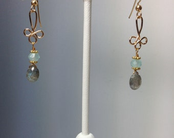 Labradorite and Chalcedony Earrings in Gold