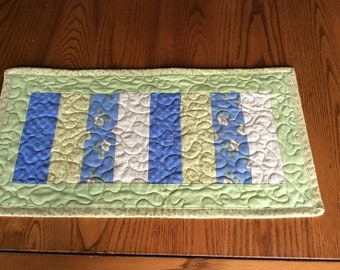Quilted Table Runner Summer Floral Strip Pieced Quilt Table Topper