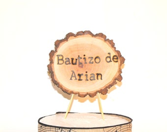 Baptism Banner Woodland Baby centerpiece ~ Woodland baby baptism decorations ~ Baptism Cake Topper ~ Rustic Tree Branch Baptismal baby Sign