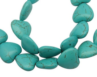 Turquoise Heart (Howlite) 25mm  (10) Sets