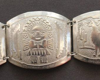 Vintage Hinged Peruvian Panel Bracelet