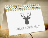 DEER Thank You Card in Turquiose Blue, Mustard Gold Yellow, and Gray - Instant Printable Download