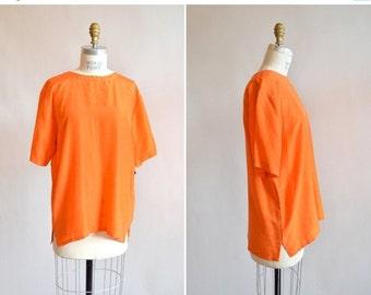 30% OFF STOREWIDE / Vintage 1980s ORANGE silk blouse