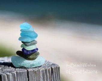 Beach Glass Photography- Sea Glass Cairn I, colorful, beach photo print, balance, zen, calming art, blue wall art, journey, meditation art
