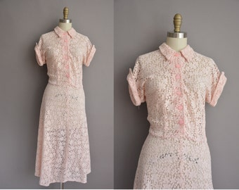 50s pink lace vintage dress by Roberta Lee / vintage 1950s dress